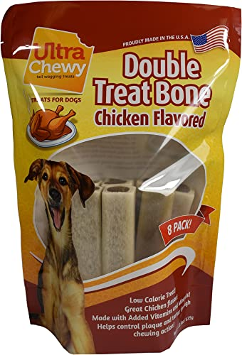 Ultra Chewy Chicken Flavored Double Treat Bone Value Pack Includes 2 Packages