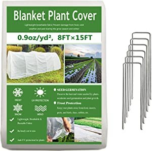 Garden EXPERT Plant Covers Freeze Protection Floating Row Cover 0.9oz Fabric Frost Cloth Plant Blanket for Plants & Vegetables in Winter(8FTx15FT,with 6 PCS Staples Stakes)