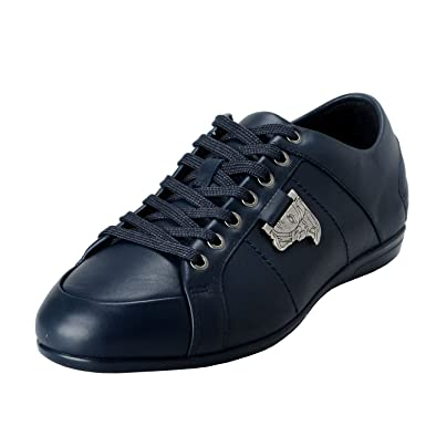368a9c96 Amazon.com: Versace Collection Men's Blue Leather Fashion Sneakers ...