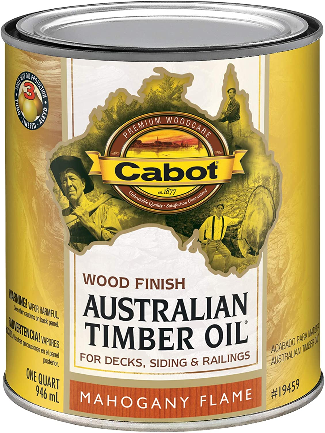 Cabot 140.0019459.005 Australian Timber Oil Water Reducible Stain, Quart, Low Voc Mahogany Flame