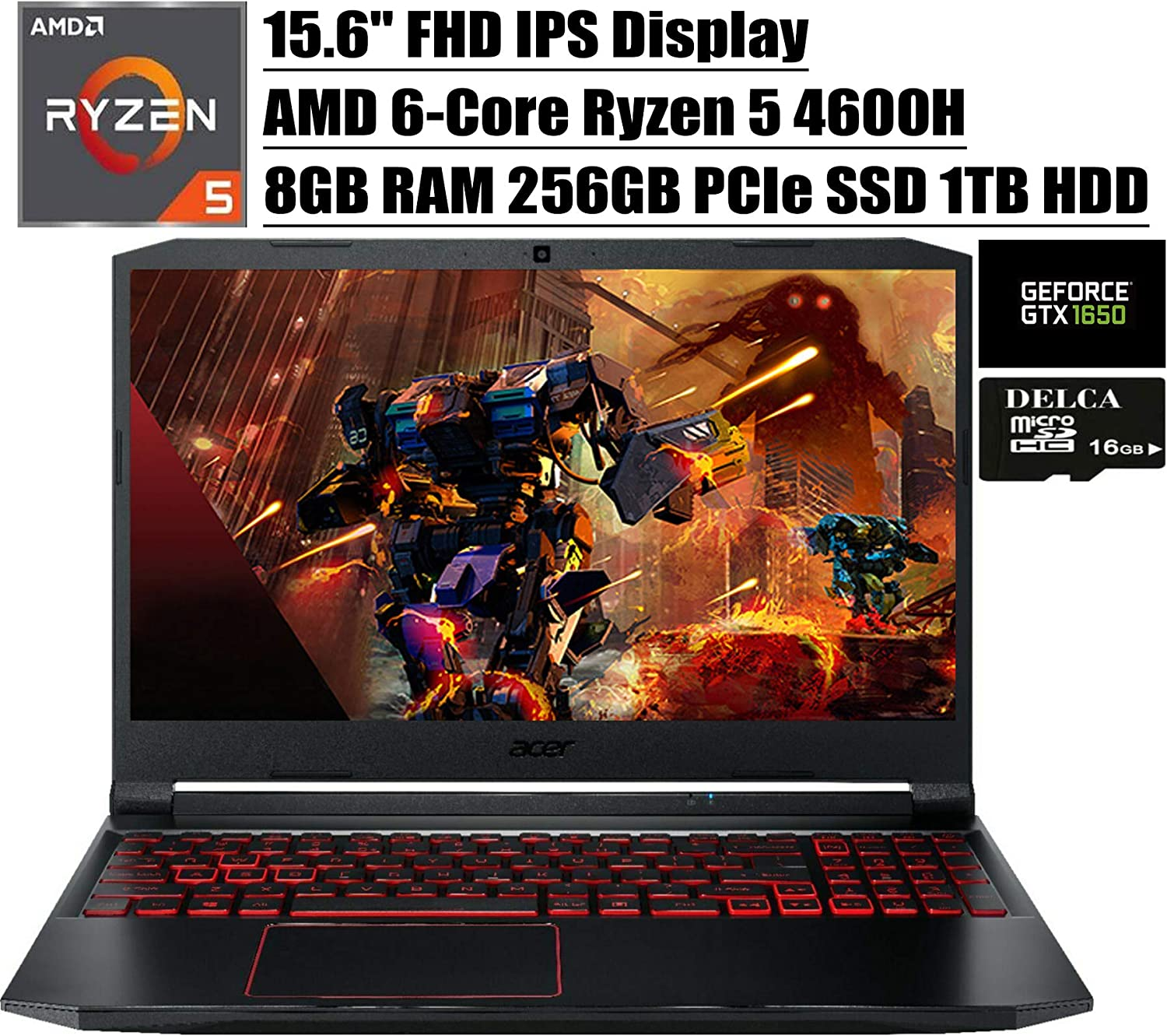 "Acer Nitro 5 15 2020 Premium Gaming Laptop I 15.6"" FHD IPS Display I AMD Hexa-Core Ryzen 5 4600H (>I7-9750H) I 8GB DDR4 256GB PCIe SSD 1TB HDD I 4GB GTX 1650 Backlit Win 10 + Delca 16GB Micro SD Card"