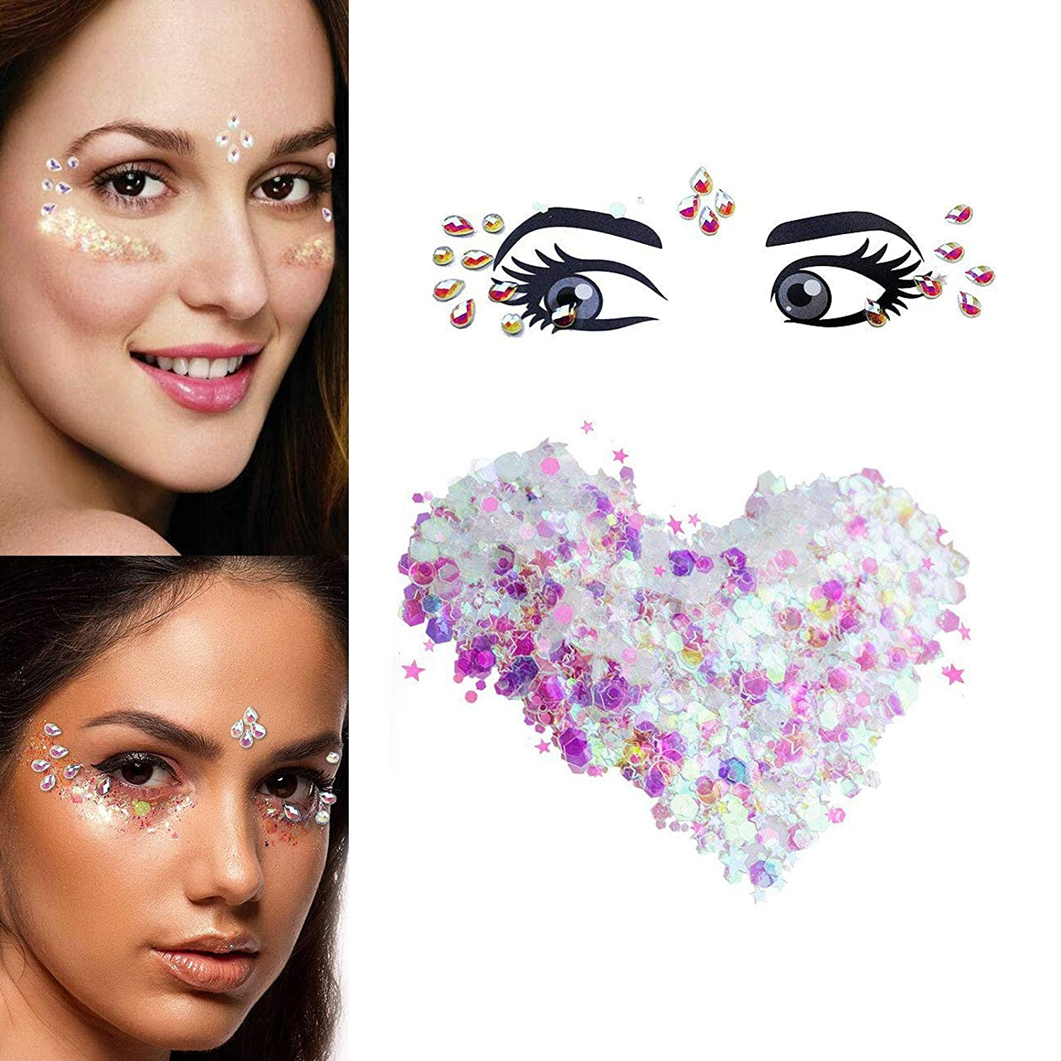 1Sheet Tattos Jewels & 5g Holographic Chunky Crystal Rhinestone Nail Giltter Temporary Stickers
