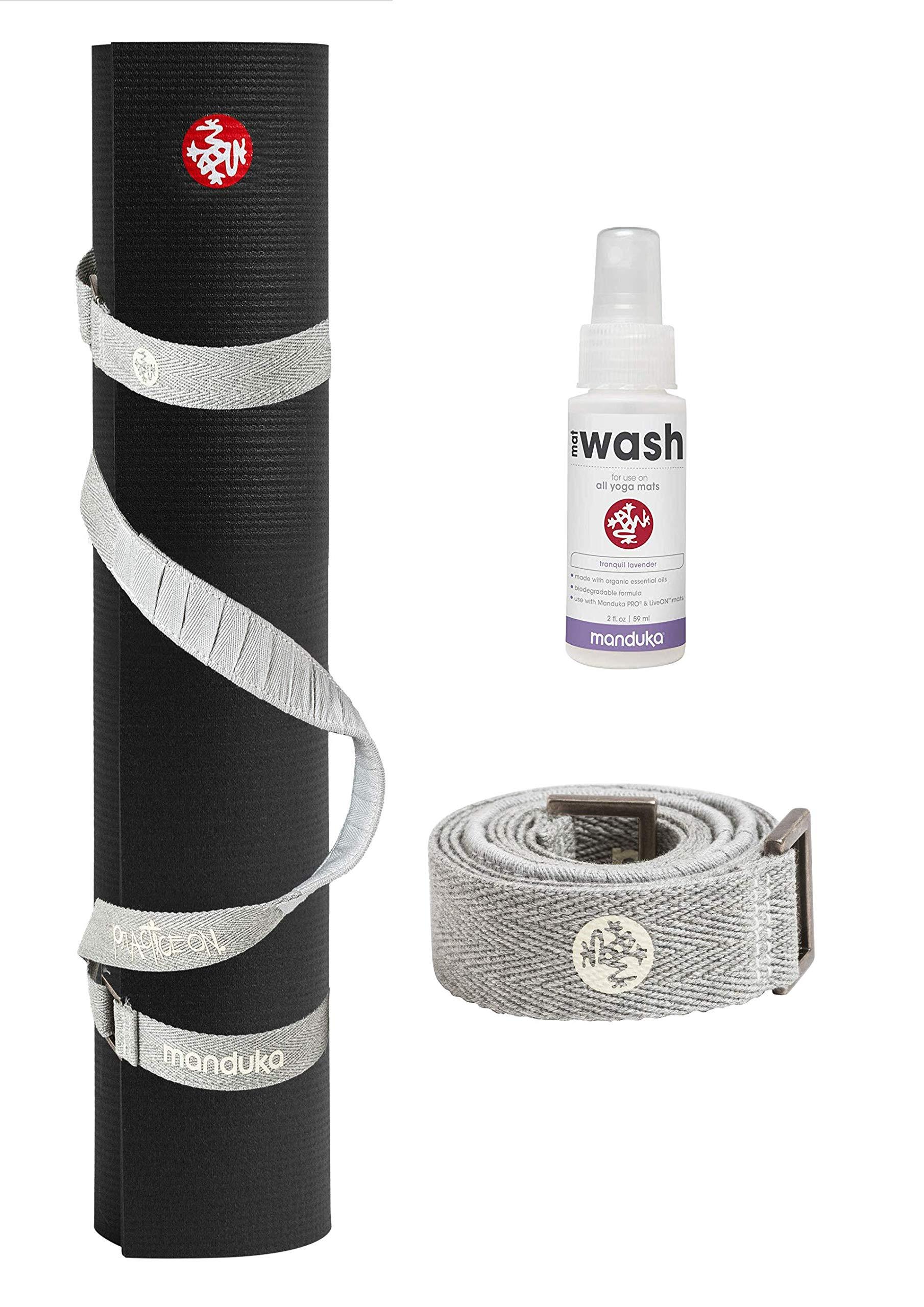 PlayBetter Manduka PRO Yoga and Pilates Mat Bundle | Includes Manduka Yoga Mat Strap & Lavender Mat Wash (Black, Standard (71''))