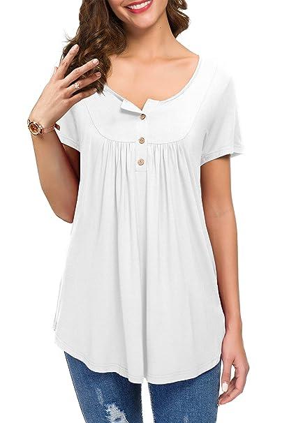610ea25cb KOAIZ Women's Button up Short Sleeve T-Shirt Casual Blouse Tunic Tops  White-S