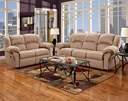 Roundhill Furniture Sensation Microfiber Dual Reclining Sofa Loveseat Set,  Camel Tan