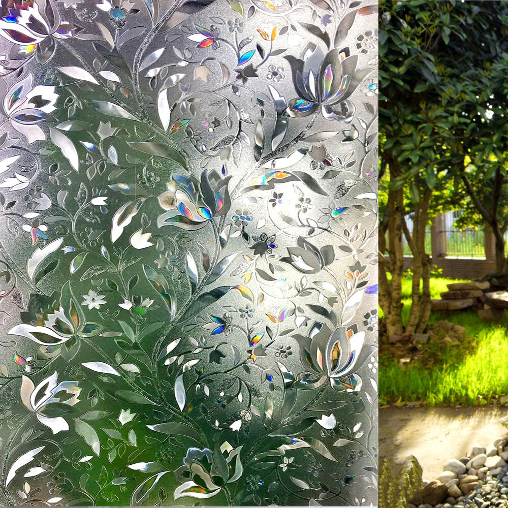 LEMON CLOUD Decorative Window Film Privacy Film No Glue Static Cling Glass Door Film 3D Tulip Window Cling for Home Office(35.4in. by 157.4in) by LEMON CLOUD