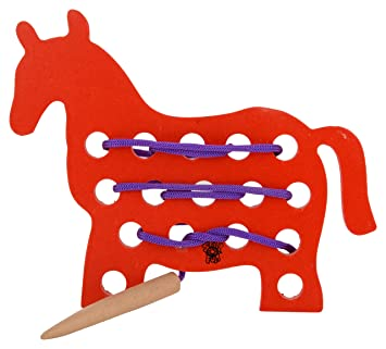 Skillofun Wooden Sewing Toy Horse, Multi Color