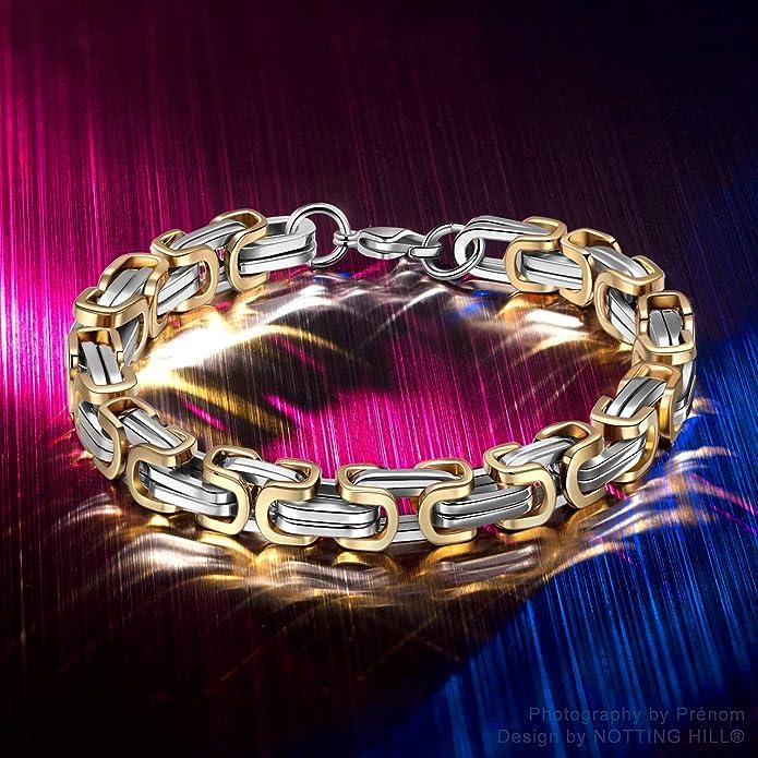 Metal Titanium Steel Golden and Silver Mens Bracelet Notting Hill See The Devil
