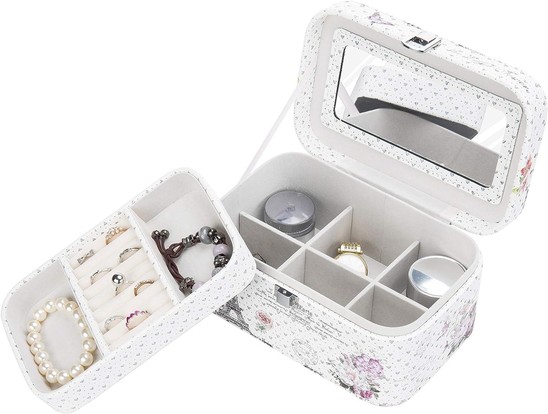Faux Leather Vintage Parisian Design 2 Layer Jewelry Organizer Box with Mirror & Lock