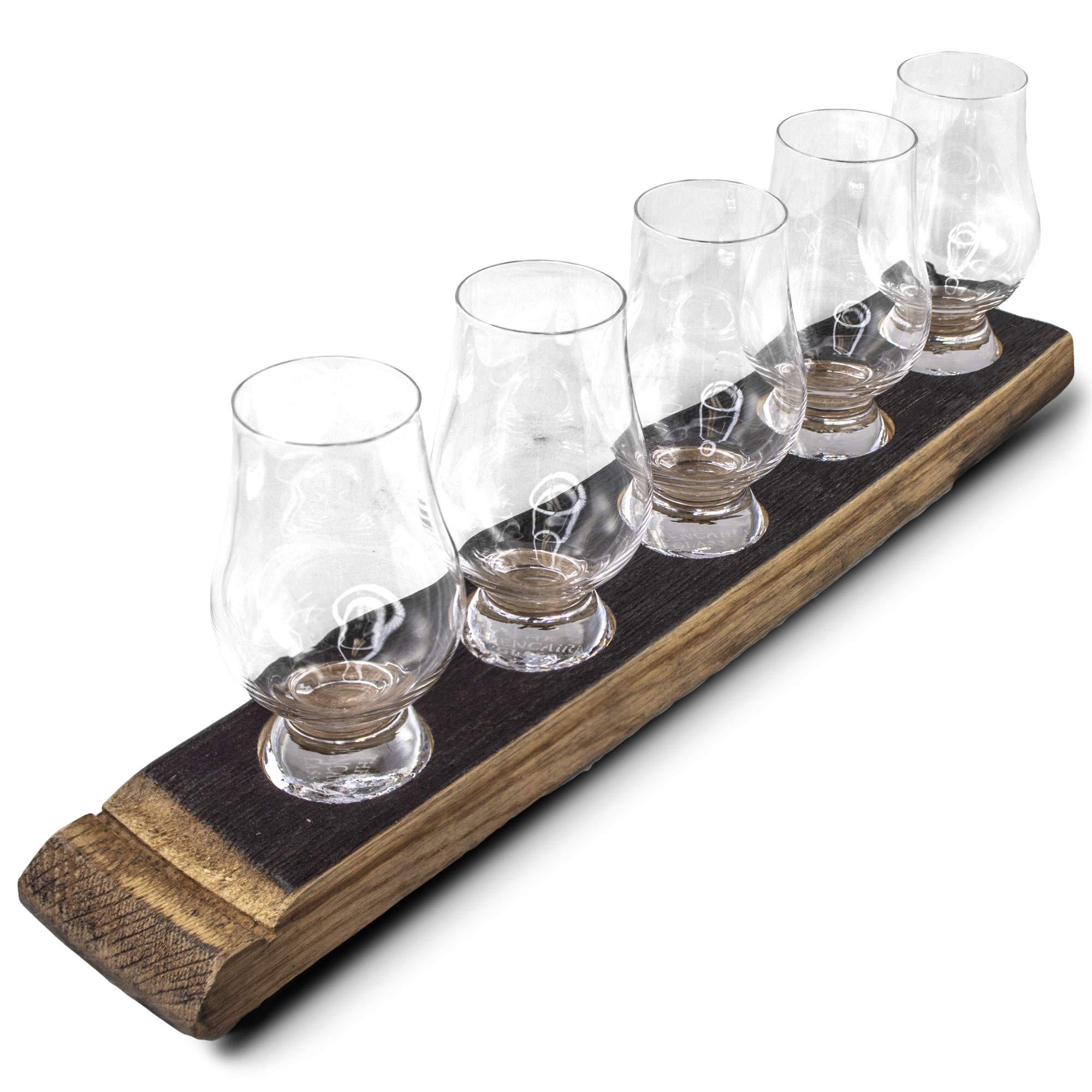 Briar And Oak Barrel Stave Whiskey Flight Tray - Charred Top With 5 Glencairn Whiskey Glasses - Made In The USA