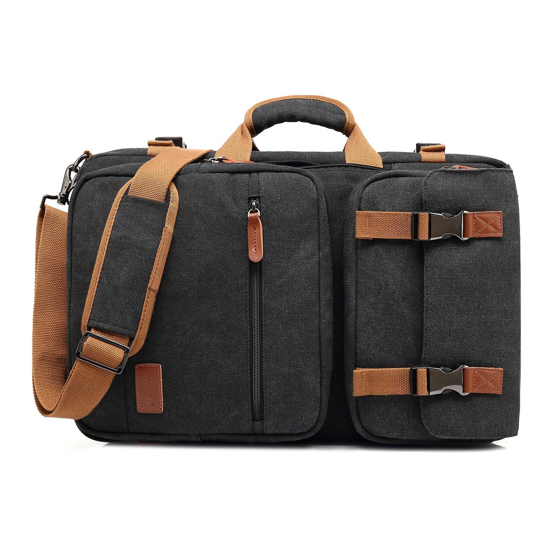 Amzbag Laptop Bag Convertible Backpack Messeng bag Laptop Case 17 Inches Water-resistance Canvas Handbag Business Briefcase Multi-functional Travel Rucksack For Men/Women(Black)