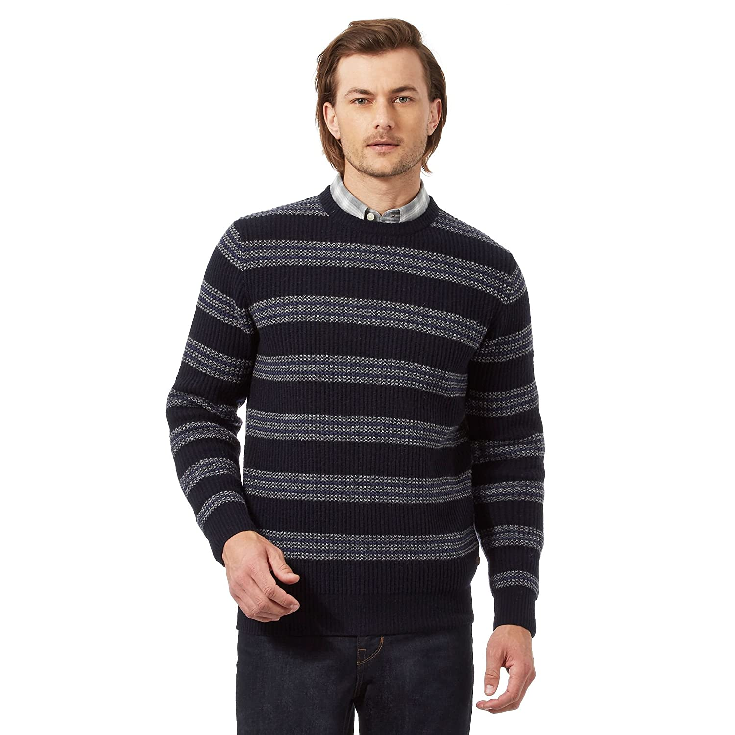 Big And Tall Navy Striped Rich Lambswool Textured Jumper