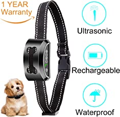 Bark Collar 2018 New Rechargeable Ultrasonic Vibration Shock or No Shock Auto Anti Dog Barking Training Collar Waterproof for Small Medium and Large Dog Pet Custom Setting Harmless and Humane