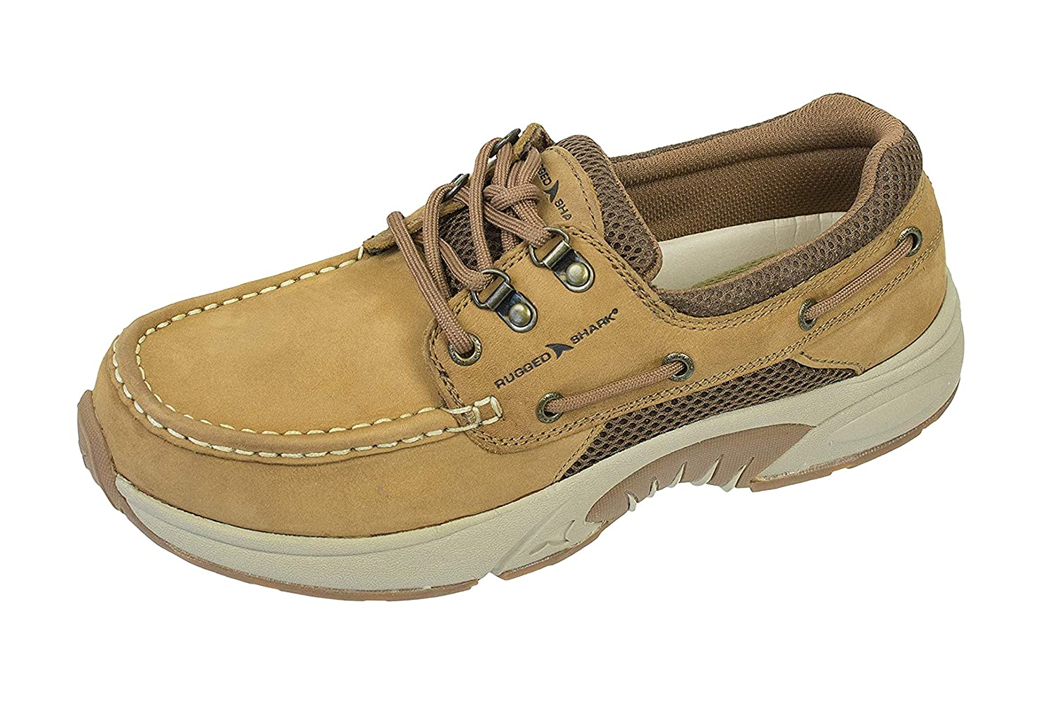 Rugged Shark Atlantic Mens Boat Shoes, Premium Leather and Comfort, Copper Brown, Size 8 to 13