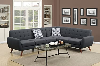 2Pcs Modern Ash Black Polyfiber Linen Like Fabric Sectional Sofa Set With  Clean Lines And