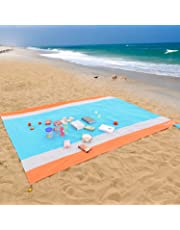 WolfWise 270x210cm Beach Blanket, Sand Proof Large Beach Mat Water Resistant Picnic Blanket, Machine Washable Soft Ripstop Nylon with 4 Stakes