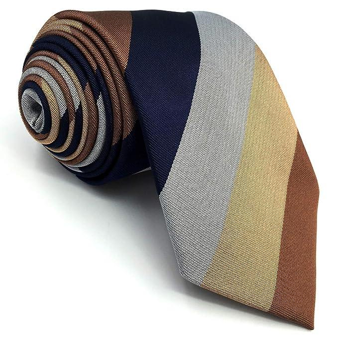 S/&W SHLAX/&WING Nuevo Corbatas for Men Rayas Azul Marr/ón Traje de negocios
