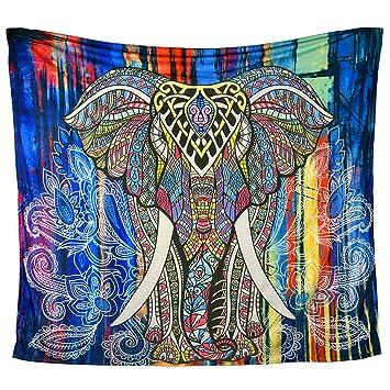 MS.DEAR Elefante Tapiz, tapices Colgantes decoración de la Pared Elefante Indio psicodélico Mandala