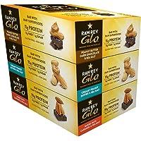Raw Rev Glo Vegan, barras de proteína sin gluten – Variedad original Glo 3 unidades (mantequilla de maní cremosa, mantequilla de maní chocolate oscuro y caramelo de nueces mixtas)