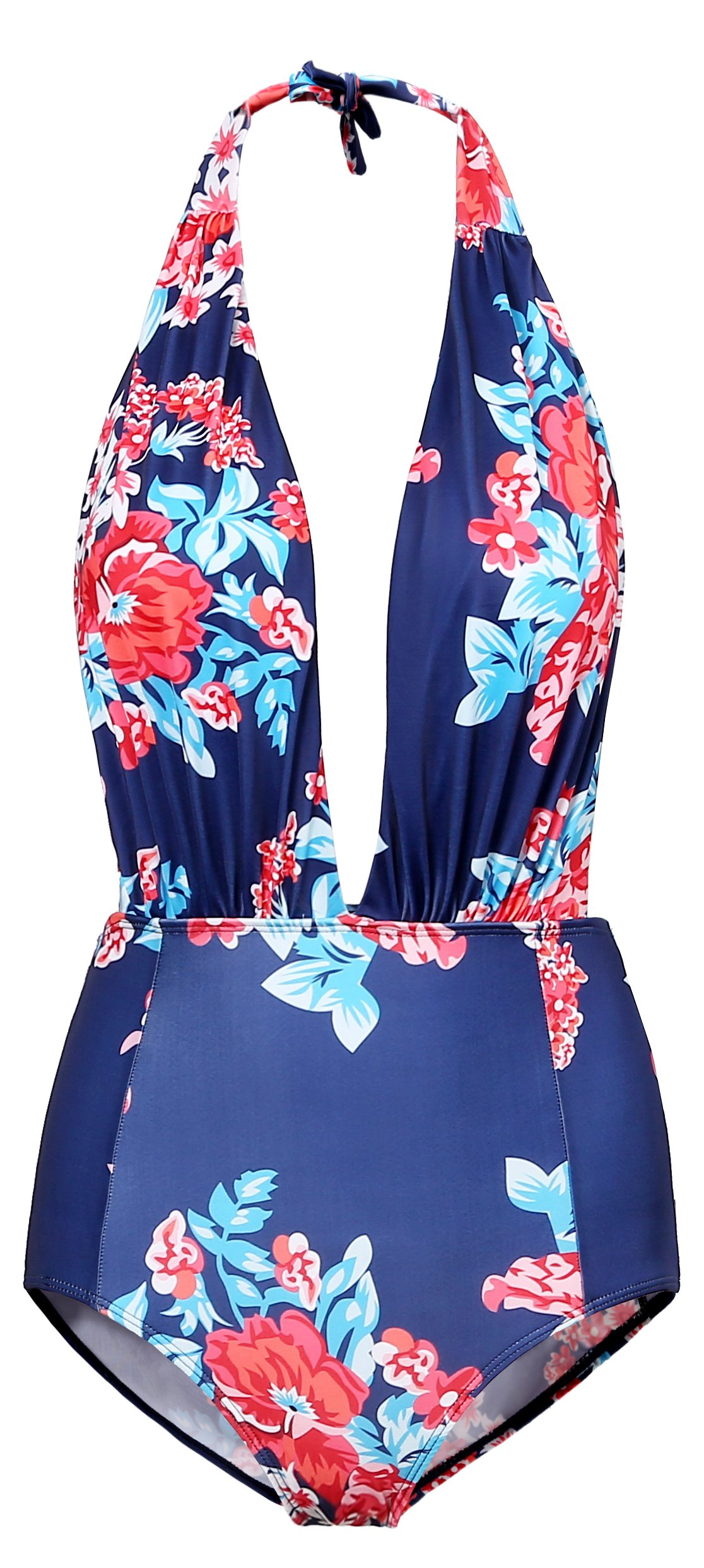 BESUMA One Piece Backless Bikini Bather Swimsuit High Waisted Pin Up Swimwear ((US 8-10) L, Blue)