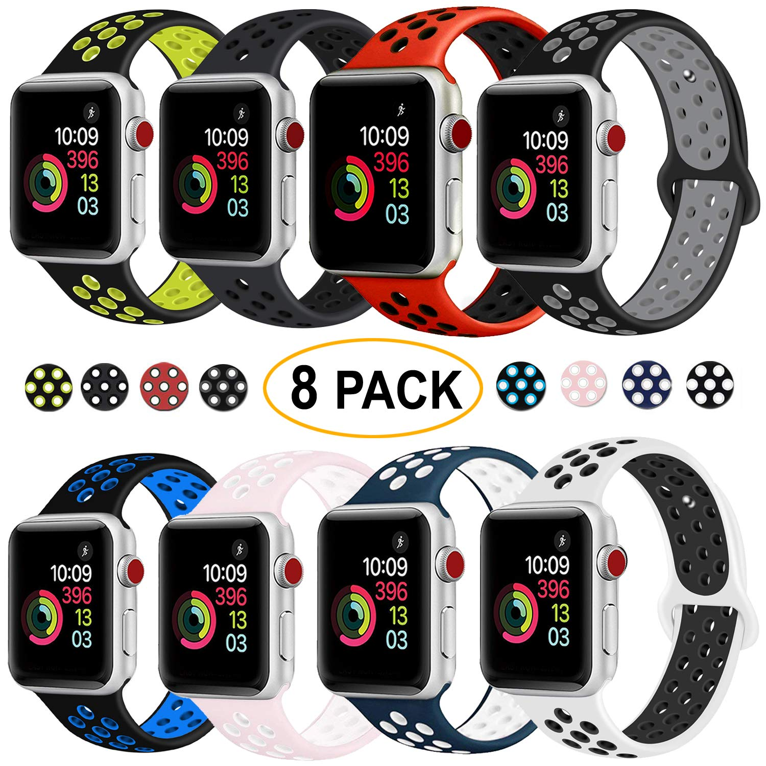 DOBSTFY Sport Band Compatible for iWatch Band 38mm 40mm 42mm 44mm, Soft Silicone Sports Band Replacement Nike Watch Bands Compatible for 2018 iWatch Series 4 3 2 1, Men/Women, 42 44mm M/L - 8 Pack
