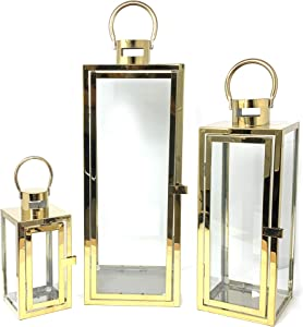 allgala 3-PC Set Jumbo Luxury Modern Indoor/Outdoor Hurricane Candle Lantern Set with Chrome Plated Structure and Tempered Glass-Cuboid Gold-HD88011