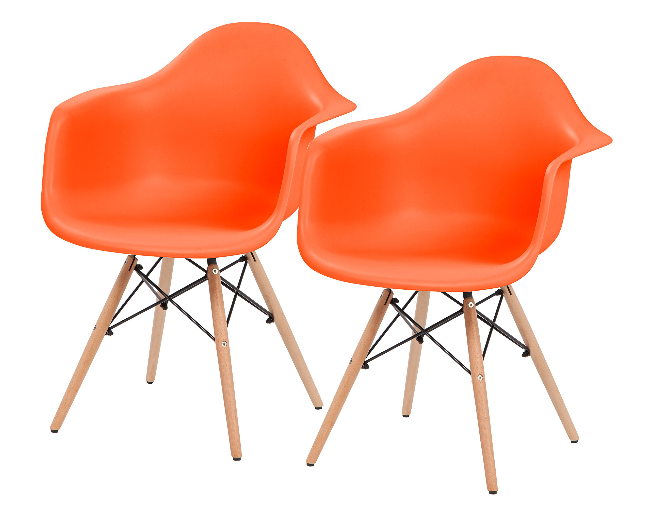IRIS Mid-Century Modern Shell Armchair with Wood Eiffel Legs, 2 Pack, Tangerine Orange