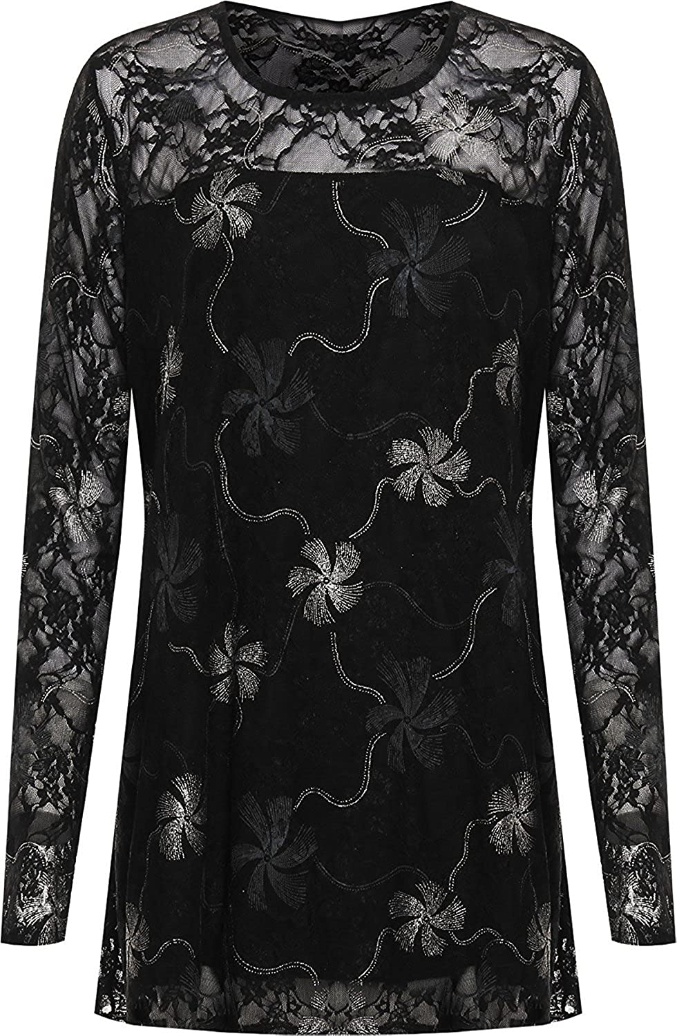 F4S/® Womens Plus Size Gold//Silver Glitter Floral Lurex Lined Print Long Sleeve Ladies Party Top 16-28