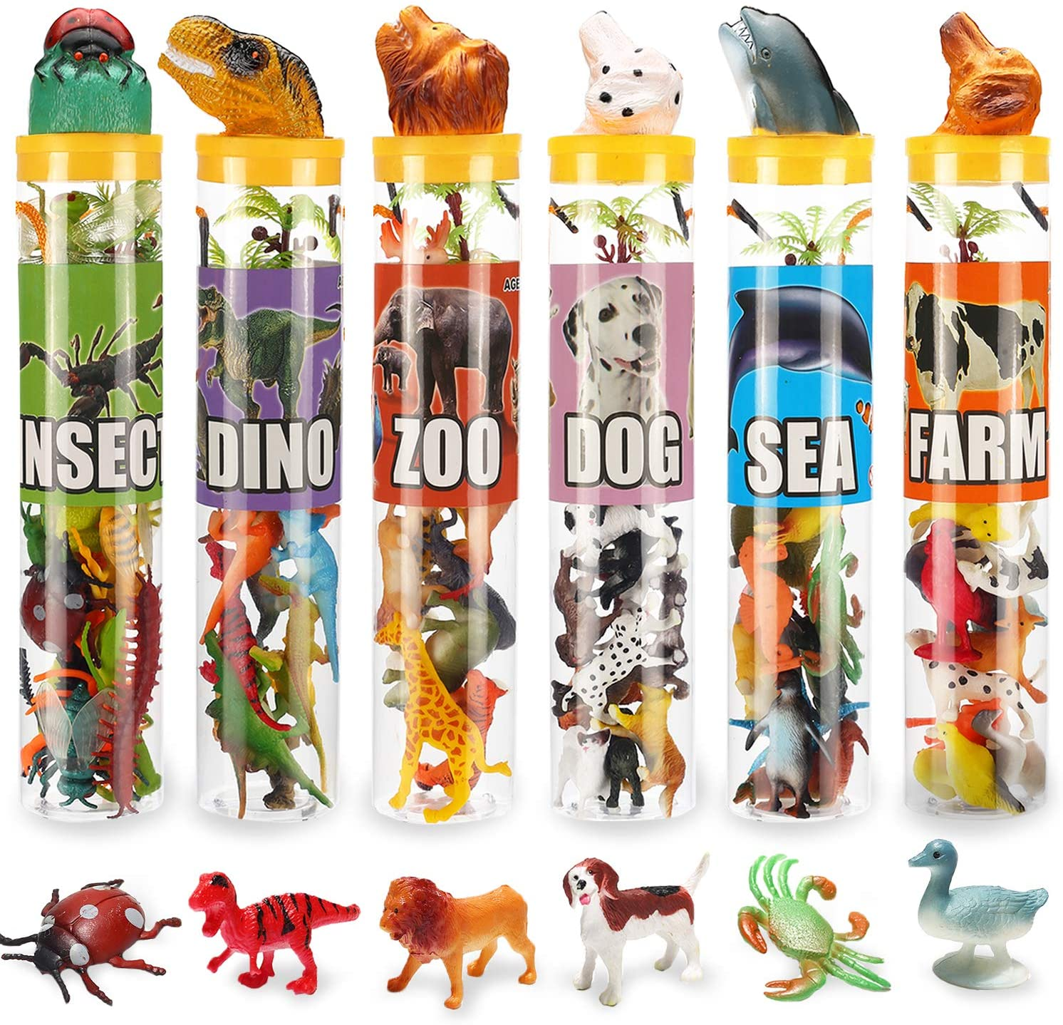 82 Piece Animal Toy, Assorted Mini Dinosaur Insect Ocean Sea Animal Farm Animal Jungle Animal Dog Figure, Realistic Vinyl Plastic Zoo Play Set, Small Toys for Sensory Bin Cupcake Topper Party Favors
