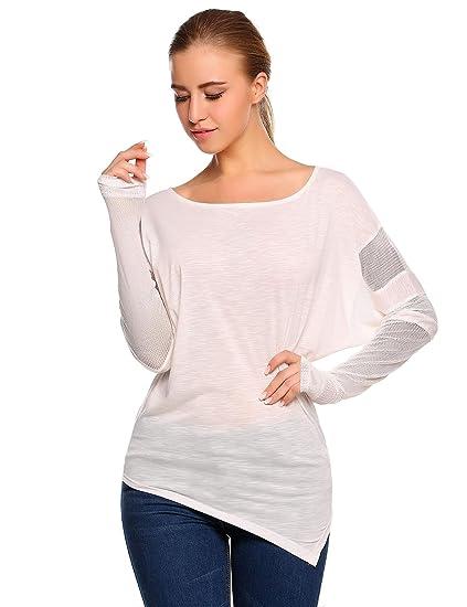 dbd07c3afa51d1 Zeagoo Womens Long Batwing Sleeve Drape Jersey T Shirts Tunic Top (White,  Small) at Amazon Women's Clothing store: