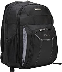 Targus Professional Business and Travel Laptop Backpack, Checkpoint-Friendly Air Traveler with Protective Sleeve for 16-Inch Laptop, Black (TBB012US)