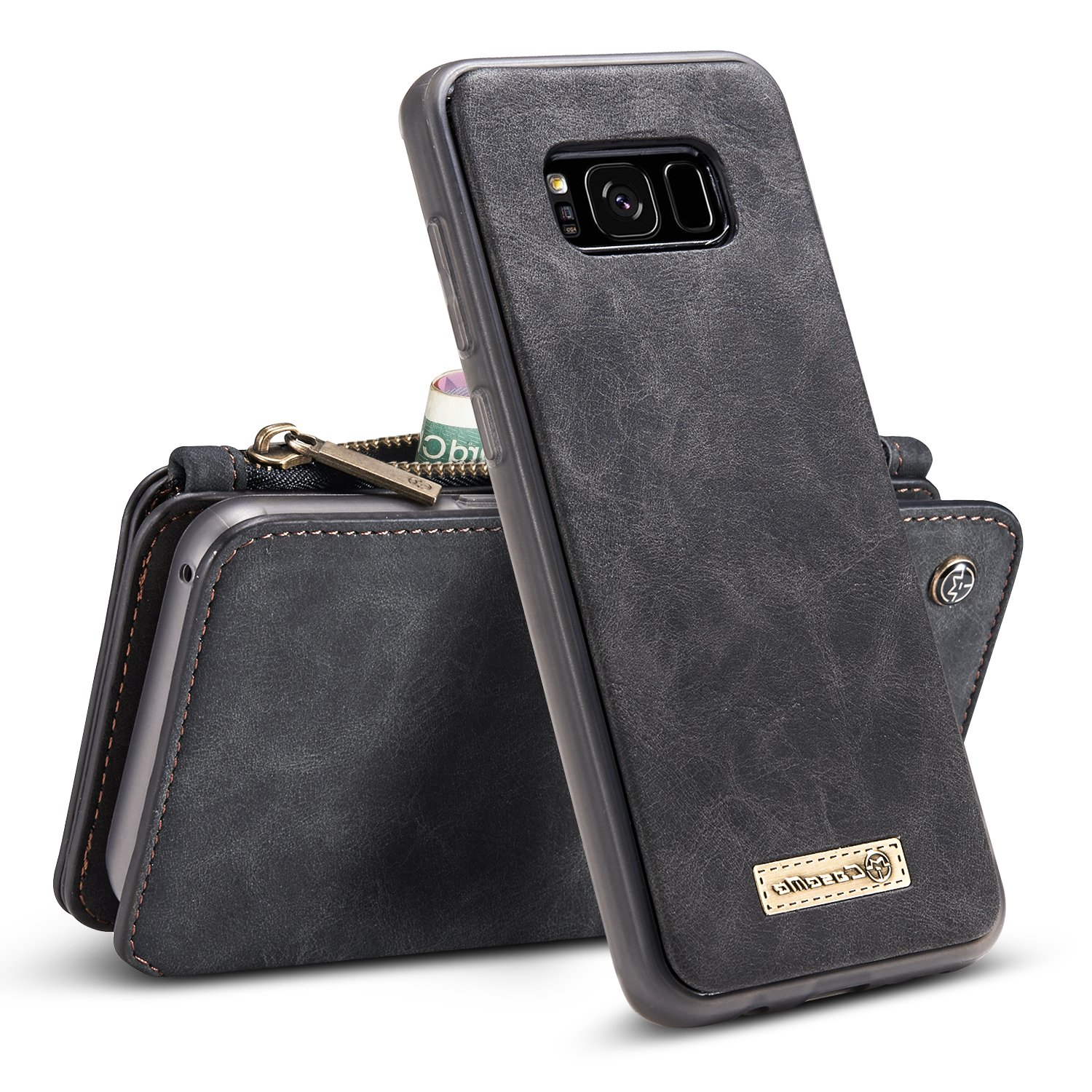 Galaxy S8 Plus Case, B BELK Detachable Magnetic Leather Wallet Large Capacity Folio Flip Card Stand Case with Removable Slim Hard PC TPU Back Cover for Samsung Galaxy S8 Plus, 6.2 Inch (Black)