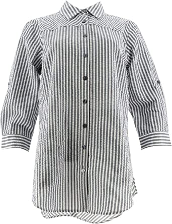 Joan Rivers 3 4 Slv Seersucker Shirt Back Button A306406 At Amazon