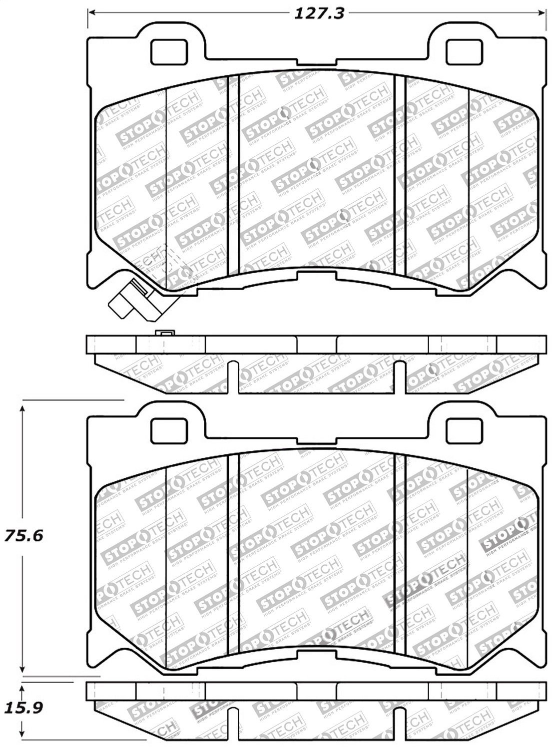 StopTech 309.13460 Street Performance Front Brake Pad