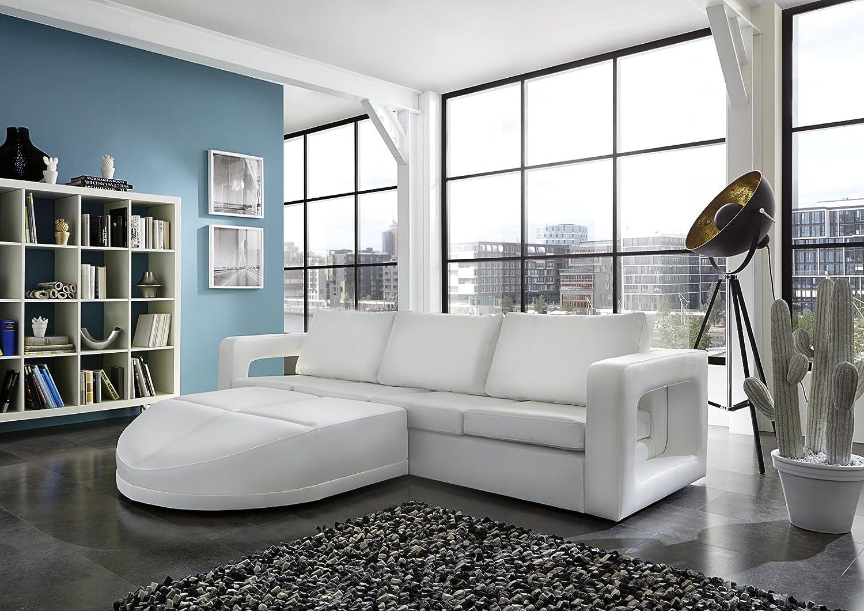 SAM® Sofa Garnitur weiß Doccia 200 x 270 cm links designed by Ricardo Paolo futuristisch Wohnzimmer Sofa Landschaft Federkernpolsterung pflegeleichte Oberfläche Lieferung mit Spedition Artikel ist montiert