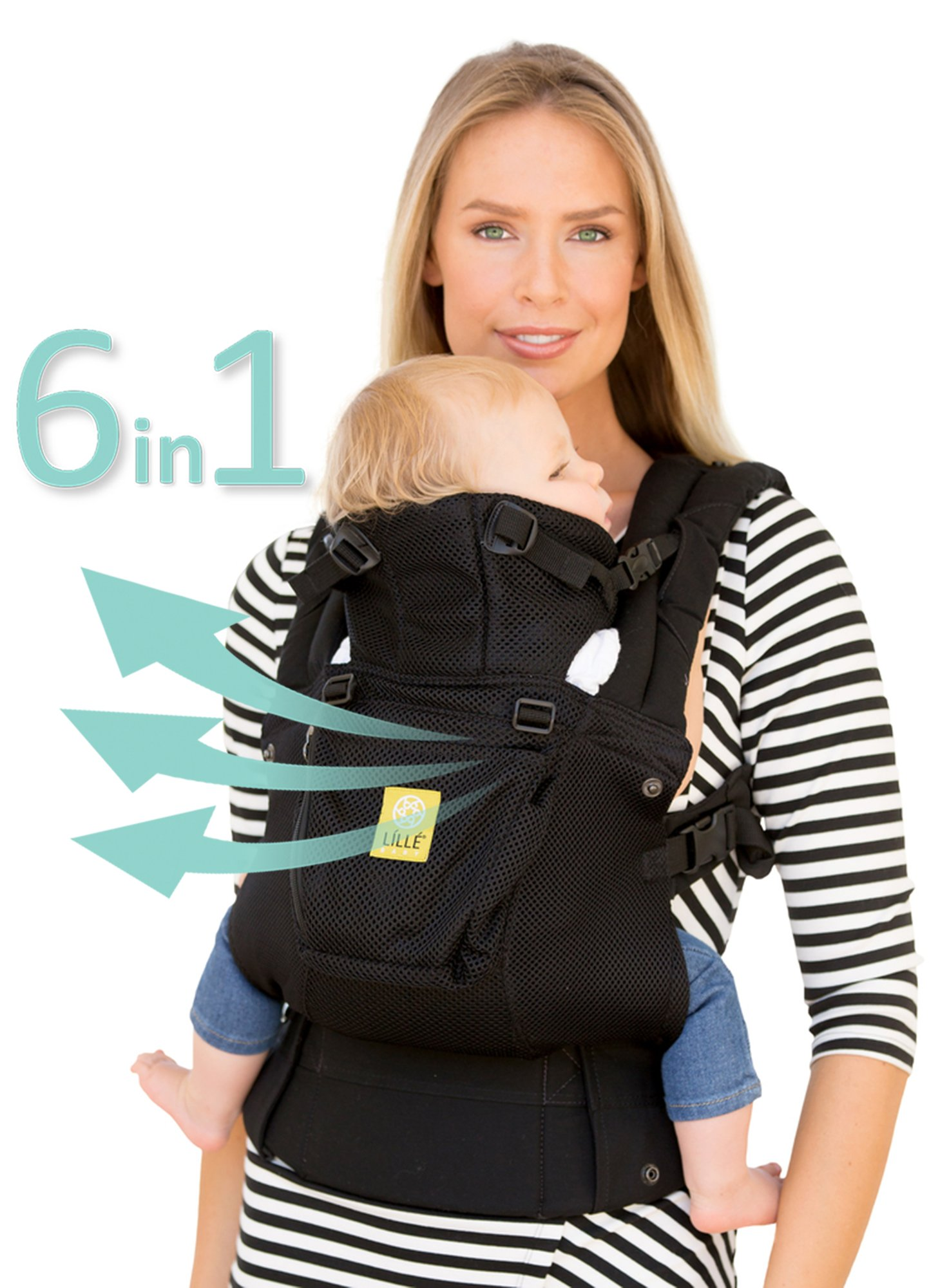 LILLEbaby SIX-Position, 360° Ergonomic Baby & Child Carrier – The COMPLETE Airflow (Black)