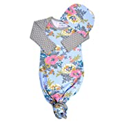 Infant Baby Tie Nightgown and Matching Hat | Sleep Gown with A Tie Bottom | Boy Girl Unisex | Soft Stretchy Cotton Sleeper (Blue Floral Grey Dot, 0-3 Month)