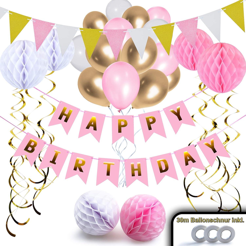 Nextdeko Hochwertige Geburtstag Deko Rosa Gold Happy Birthday