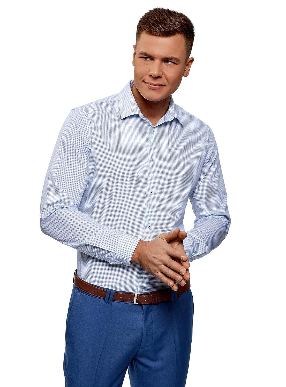 TALLA сm 37 / ES 37 / XXS. oodji Ultra Hombre Camisa Entallada con Estampado Gráfico
