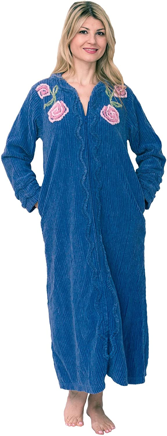 Vintage Nightgowns, Pajamas, Baby Dolls, Robes Bath & Robes Womens Full Length 100% Cotton Chenille Robe $84.99 AT vintagedancer.com