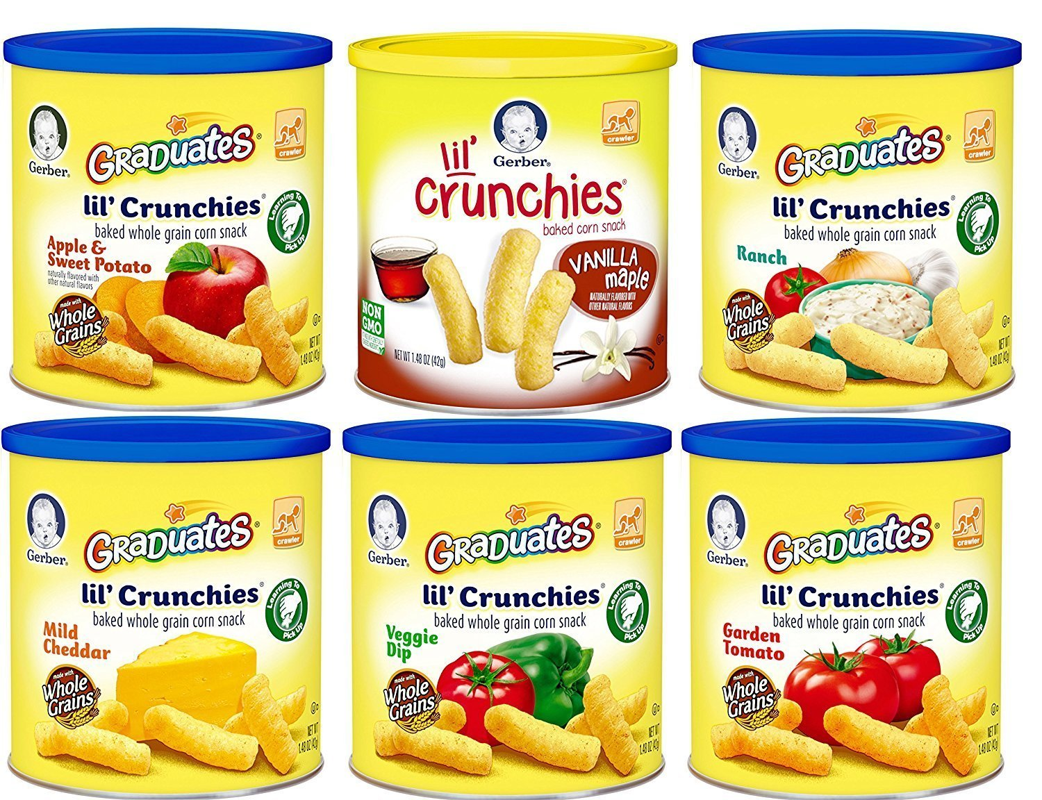 Gerber Graduates Lil Crunchies, Variety Pack, 1.48-Ounce Canisters (Pack of 6)