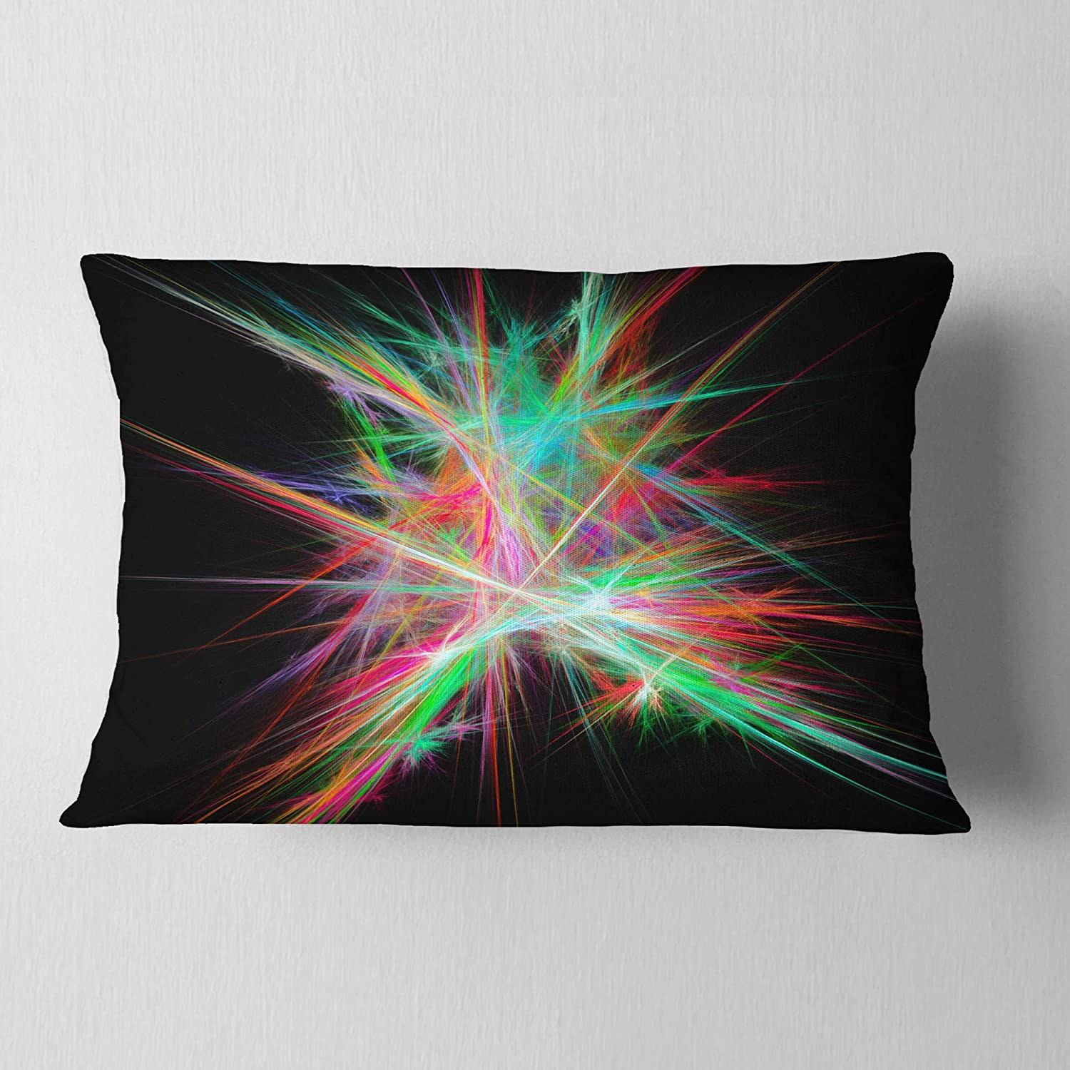 Designart CU16159-12-20 Green Red Spectrum of Light' Abstract Lumbar Cushion Cover for Living Room, Sofa Throw Pillow, 12 in. x 20 in