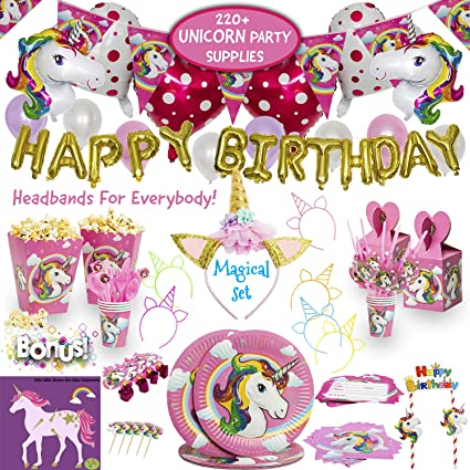 Amazon.com: Imagine - Set de fiesta de unicornio - 220 + ...