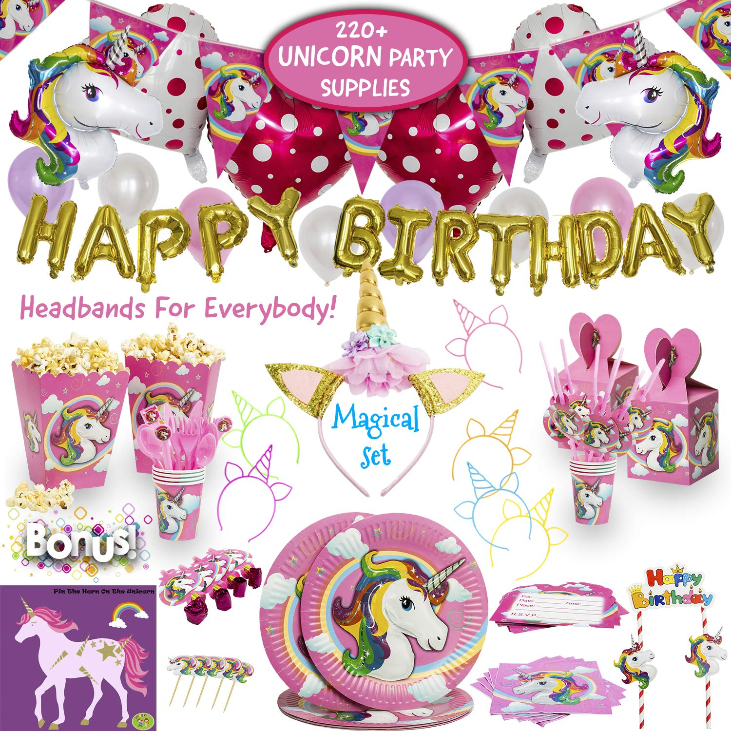 Imagine's Complete Unicorn Party Supplies - 220+ Piece Rainbow Girls Birthday Supplies Pack with Unicorn Balloons, Headbands, Party Favors for Kids, MORE - Magical Unicorn Sleepover Party Set for 15 by Imagine's