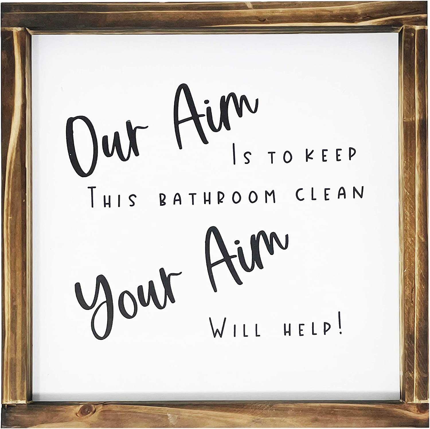 Your Aim Sign For Bathroom-Rustic Farmhouse Decor Sign, Funny Guest Bathroom Wall Art, Modern Restroom Sign For Wall With Funny Quotes, Cute Home Decoration, 12x12 Inch