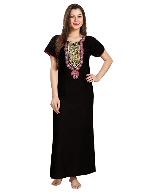 AV2 Women Embroidered Nighty  Amazon.in  Clothing   Accessories 2d578ff64