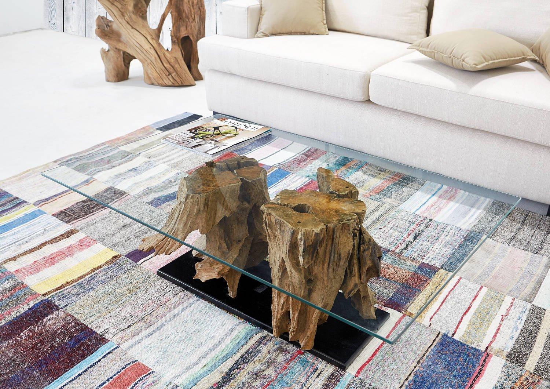 glas 110 cm x70 cm exklusiver wurzel holz wohnzimmer tisch eleganter beistelltisch amazonde kche haushalt - Wohnzimmertisch Holz Wurzel