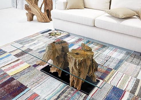 Teakholz tisch glas  Teak-Couchtisch Ranting inkl. Glas 110 cm x70 cm | Exklusiver ...