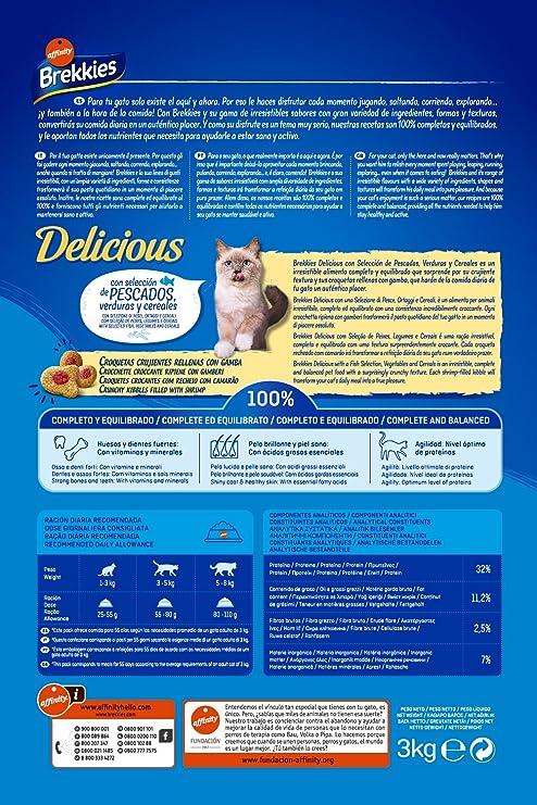 Brekkies Pienso para Gatos Delicious con una Selección de Pescado - 3000 gr: Amazon.es: Productos para mascotas