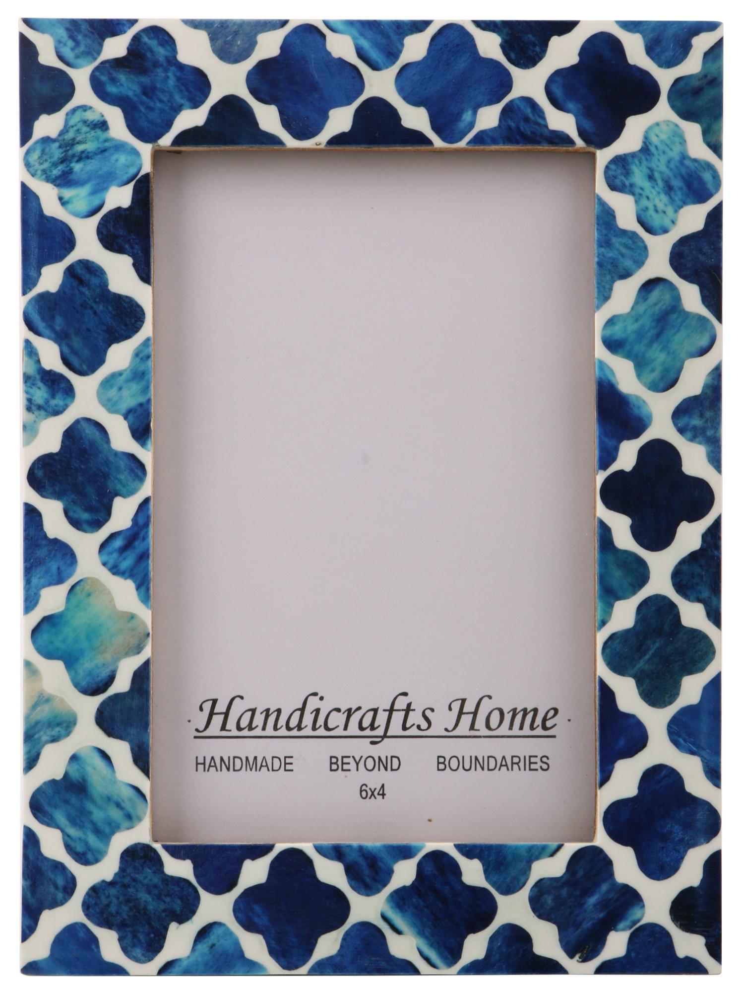 Handicrafts Home Picture Photo Frame Indigo Moorish Quatrefoil Handmade Naturals Bone Frames from Photo Size 4x6 (Indigo-2)